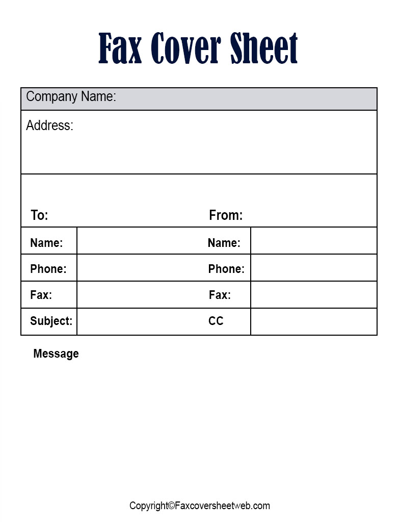 Free Blank Fax Cover Sheet Word