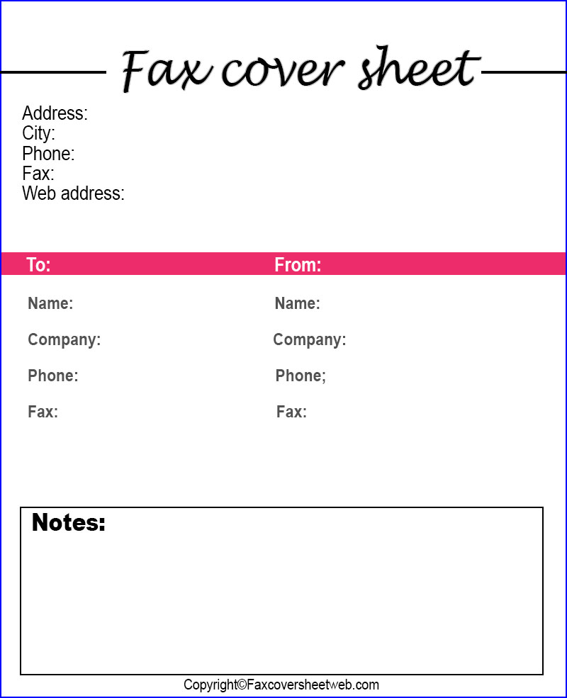 Generic Fax Cover Sheet Word Template