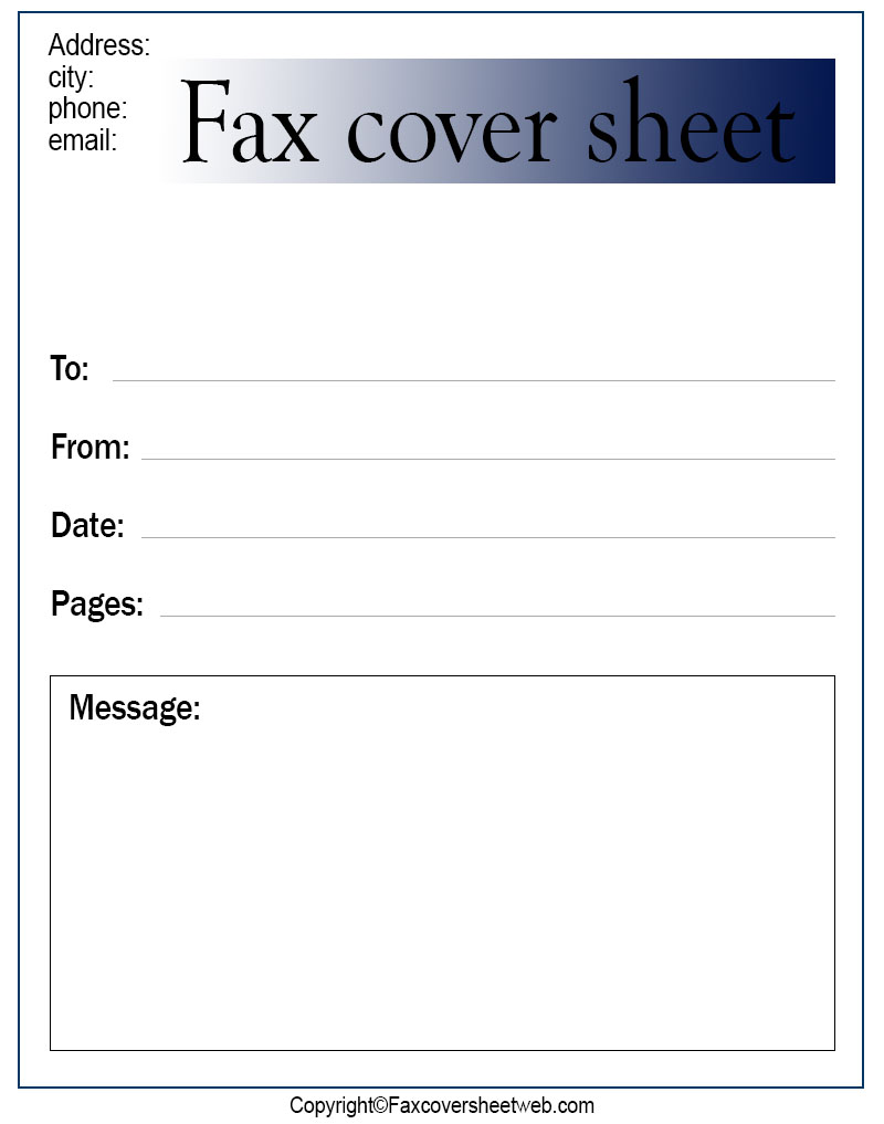 Professional Fax Cover Sheet Word